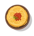 Russian pancakes with red caviar on a plate vector image