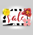 sale banner with summer flowers and zebra vector image