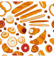 seamless pattern with different kinds bakery vector image