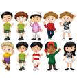 set happy children waving hand vector image vector image