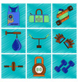 set of flat shading style icon gym vector image vector image