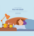 sick girl in bed with the symptoms of cold flu vector image vector image