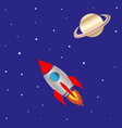 space ship and planet saturn vector image