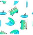 Surfing pattern cartoon style vector image vector image