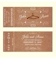 Ticket Wedding Invitation with hangers for bride vector image