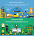 two construction worker banner set vector image vector image