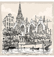 Vintage Hand Drawn View of Old Church in Amsterdam vector image vector image