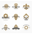 vintage logos design hand drawn templates set vector image vector image