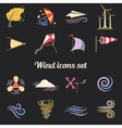 Wind Color Flat Icons vector image