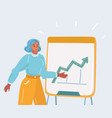 woman presenting on flipchart in office vector image