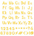alphabet design in yellow color vector image vector image