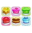 App icons set with colorful sweet cakes vector image