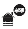 black silhouette flooded house icon with circular vector image vector image