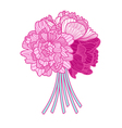 bouquet made of peonies on white background vector image vector image