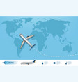 business trip banner with airplane and world map vector image vector image