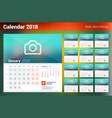 calendar for 2018 year week starts on monday set vector image vector image