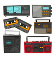 cartoon of old music cassette vector image vector image