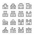 castle line icon set vector image vector image
