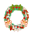 Christmas Wreath with white bows and poinsettia ve vector image