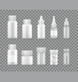 containers for liquid medications and pills set vector image vector image