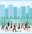crowd people walking on street with vector image vector image