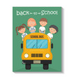 cute little students in bus school vector image vector image