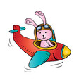 cute rabbit flying on an airplane vector image