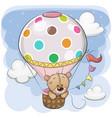 cute teddy bear is flying on a hot air balloon vector image vector image