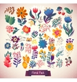 Flowers decorative set of doodle vector image