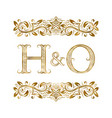 h and o vintage initials logo symbol vector image