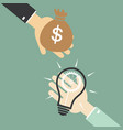hand of businessman to change the bulb idea to vector image vector image