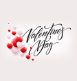 happy valentines day lettering with red hearts vector image vector image