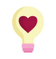 happy valentines day light bulb heart love icon vector image