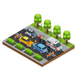 isometric car accident concept vector image vector image