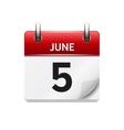 June 5 flat daily calendar icon Date and vector image vector image