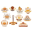 Large set of bakery labels or badges vector image