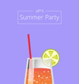lets summer party poster with lemonade in glass vector image