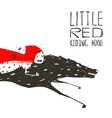 Little Red Riding Hood on Black Wolf Running vector image vector image