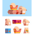 lunch containers boxes for products for easy vector image vector image