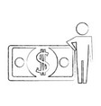 man pictogram with banknote money dollar vector image vector image