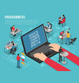 programmers work isometric conceptual composition vector image vector image