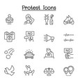 protest icon set in thin line style vector image