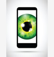 realistic eyeball on a cell mobile phone vector image vector image
