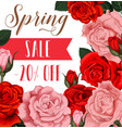 rose flowers poster for spring season sale vector image vector image