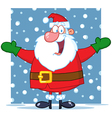 Santa Claus With Open Arms In The Snow vector image