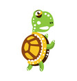 scary green turtle standing with flippers up vector image vector image