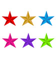 set glossy star icon on white background flat vector image