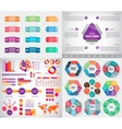 set infographics charts paper stickers vector image