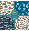 set of ocean seamless patterns vector image