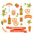 set oktoberfest beer symbols vector image